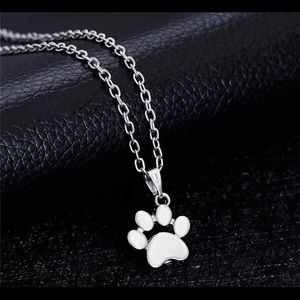 Jewelry - Paw Print Pendant Sterling Silver Plated Necklace